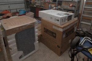 Appliance boxes in the garage
